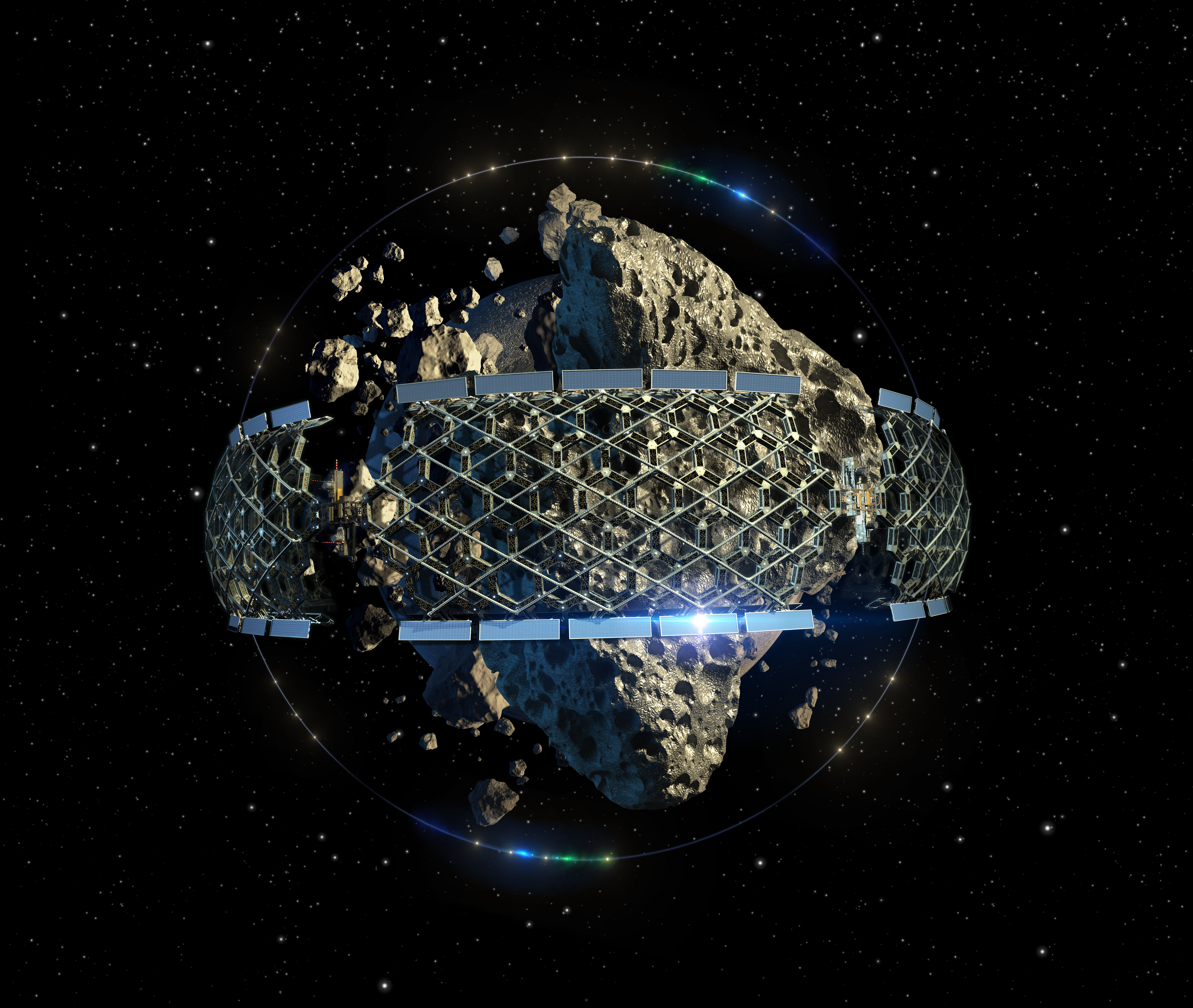 Asteroid mining megastructure